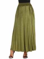 ArmyGreen Women High Waist Solid Velvet Casual Maxi Long Pleated Skirt