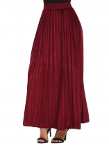Wine red Women High Waist Solid Velvet Casual Maxi longue jupe plissée