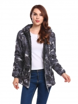 Camouflage Women Hooded Long Sleeve Camouflage Zip-up Padded Coats