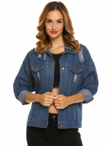 Women's Turn Down Collar Loose Ripped Button Down Boyfriend Denim Jacket