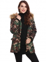 Army green Women Hooded Long Sleeve Camouflage Zip-up Cotton Padded Coat
