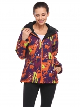 Orange Women Long Sleeve Drawstring Hooded Camouflage Print Casual Fleece Jacket Coats