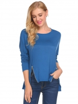 Royal Blue Women Drop-Shoulder Batwing Sleeve Zip Décor Casual Loose T-Shirt