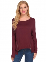 Wine red Women Drop-Shoulder Batwing Sleeve Zip Décor Casual Loose T-Shirt