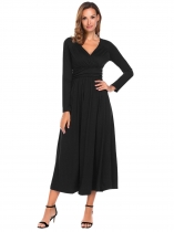 Black Women Crossover V-Neck Long Sleeve Solid Slim Fit Party Maxi Dress