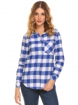 Blau Frauen Langarm Plaid Button Down Freizeithemd