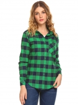 Green Women Long Sleeve Plaid Button Down Casual Shirt