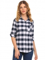 Navy blue Women Long Sleeve Plaid Button Down Casual Shirt