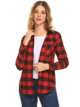 Red Women Long Sleeve Plaid Button Down Casual Shirt