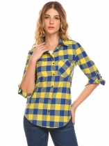 Yellow Women Long Sleeve Plaid Button Down Casual Shirt