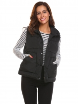 Black Women Casual Sleeveles Zip-up Channel-Quilted Thick Padded Vest