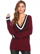 Wine red Women V-Neck Long Sleeve Patchwork Causal Loose Fit Pullover Sweater