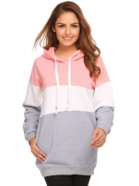 Pink Women Warm Hooded Contrast Color Fleece Lined Pullover Hoodie Sweatshirt