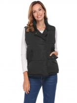 Black Women Stand Neck Sleeveless Solid Loose Down Jacket Waistcoat With Flat Pocket