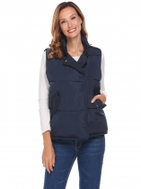 Blue Women Stand Neck Sleeveless Solid Loose Down Jacket Waistcoat With Flat Pocket