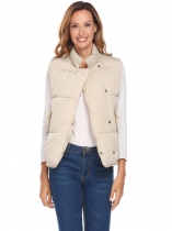 Light brown Women Stand Neck Sleeveless Solid Loose Down Jacket Waistcoat With Flat Pocket