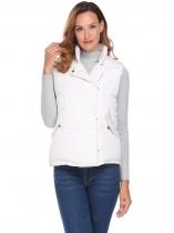 Branco Mulheres Stand Neck Sleeveless Solid Loose Down Jacket Waistcoat With Flat Pocket