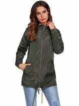 Army green Women Hooded Long Sleeve Front-Zip Lightweight Coat