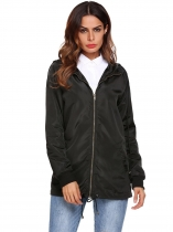 Black Women Hooded Long Sleeve Front-Zip Lightweight Coat