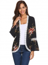 Navy blue Women Casual Long Trumpet Sleeve Floral Lace-trimmed Open Front Chiffon Jacket