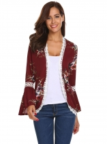 Wine red Women Casual Long Trumpet Sleeve Floral Lace-trimmed Open Front Chiffon Jacket