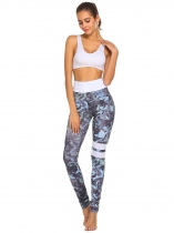 Navy blue Women Fold Over Waist Print Stretch Tights Running Sport Yoga Legging