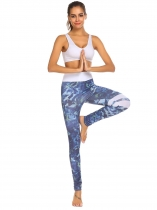 Dark blue Women Fold Over Waist Print Stretch Tights Running Sport Yoga Legging