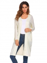 Apricot Women Fashion Long Loose O-Neck Sleeve Solid Cardigan