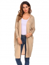 Khaki Women Fashion Long Loose O-Neck Sleeve Solid Cardigan