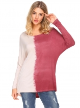 Rose red Women O Neck Long Sleeve Dip Dye Back Cowl Hole Loose Blouse Tops