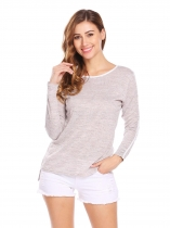 Apricot Women Long Sleeve Slim Fit High Low Hem Casual Knit T-Shirts
