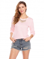 Pink Women Long Sleeve Slim Fit High Low Hem Casual Knit T-Shirts