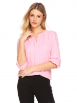 Pink Women Notch Neck Roll Up Sleeve Solid Casual Loose Fit Blouse Top