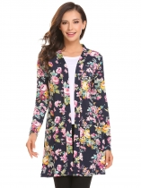 Navy blue Women Long Sleeve Floral Slim Fit Casual Cardigan with Pocket