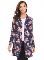 Royal Blue Women Long Sleeve Floral Slim Fit Casual Cardigan with Pocket