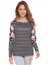 Black Striped Women Round Collar Long Sleeve Floral Striped Patchwork Slim Casual T-Shirt
