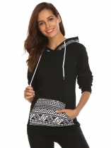 Black Women Boho Printed Casual Pullover Hoodies with Pocket