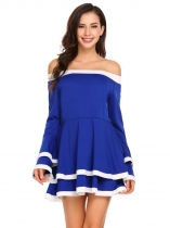 Blue Women Casual Slash Neck Off the Shoulder Flare Sleeve A-Line Pleated Hem Sexy Blouse