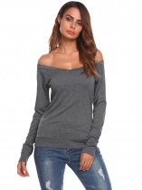 Cinza cinza Mulheres Slim Fit V-Neck Off Shoulder Long Sleeve Casual T-Shrit Topo