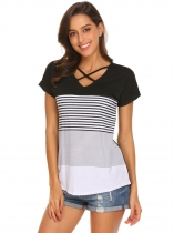 Black T-shirt de manga curta comprida O-Neck feminino