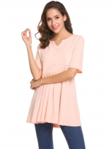 Pink Women Casual V-Neck Half Sleeve Pleated Button Front High Waist Tunic T-shirt