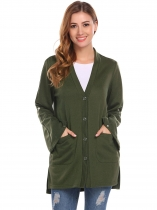 Army green Women V-Neck Flare Sleeve Button Down Split Casual Loose Fit Cardigan with Pocket