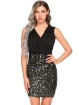 Gold Women Sexy Ruched Wrap Front Sequin Bodycon Stretchy Mini Party Dress