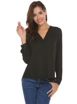 Black Women V-Neck Long Sleeve Solid Asymmetrical Chiffon Blouse