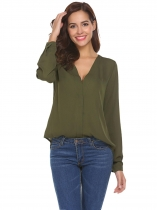 Green Women V-Neck Long Sleeve Solid Asymmetrical Chiffon Blouse