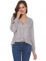Gray Women V-Neck Long Sleeve Solid Asymmetrical Chiffon Blouse