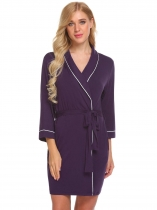 Purple Women V-Neck Sleepwear Contrast Color Robe with Belt