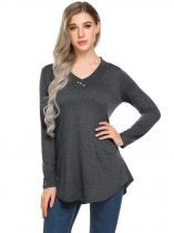 Dark gray Femmes Casual V Neck manches longues solide Regular Fit Sexy Blouse T shirt