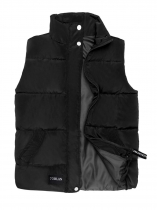Black Women Warm Stand Collar Sleeveless Casual Puffer Quilted Vest with Pocket