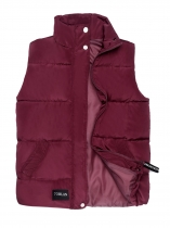 Wine red Women Warm Stand Collar Sleeveless Casual Puffer Quilted Vest with Pocket